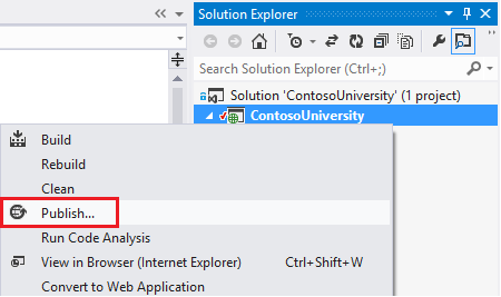 Publish in project context menu